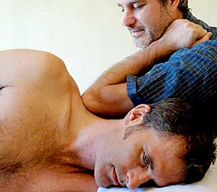 man in rolfing session